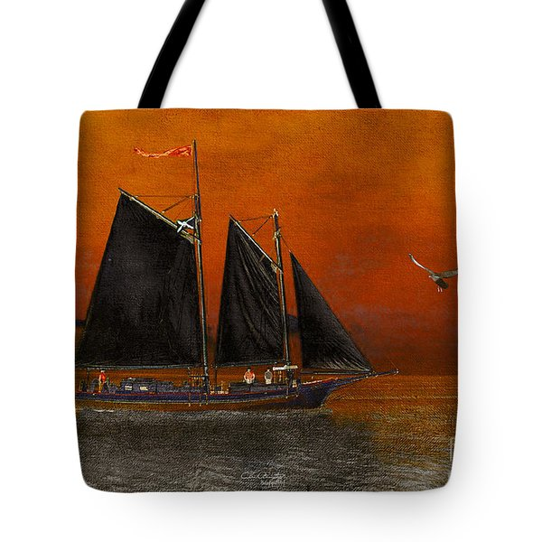 Tote Bag featuring the photograph Black Sails In The Sunset by Chris Armytage
