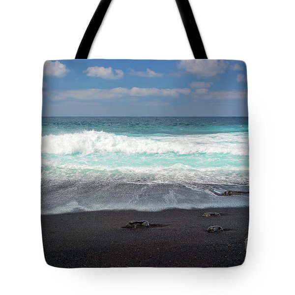 Tote Bag featuring the photograph Black Sand Beach by Delphimages Photo Creations