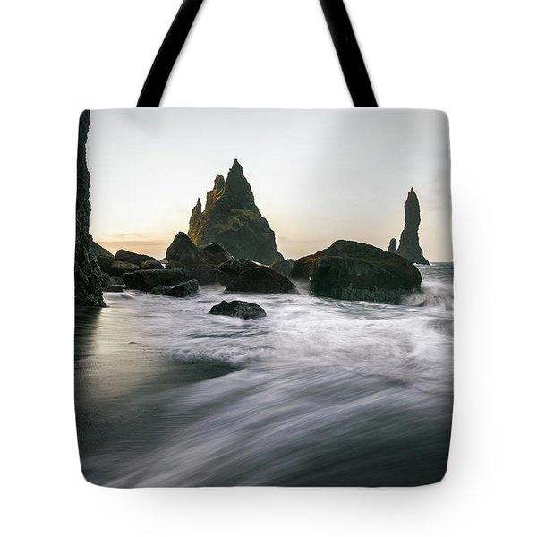 Black Sand Beach In Iceland Tote Bag