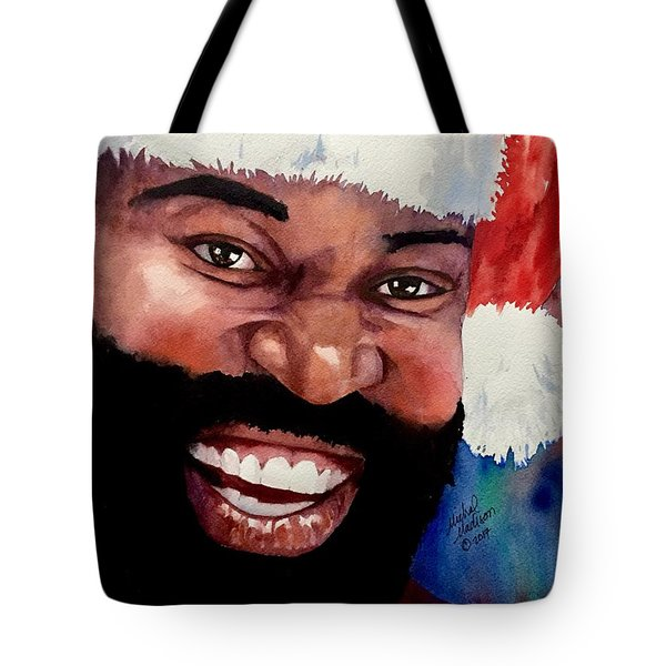 Tote Bag featuring the painting Black Santa by Michal Madison