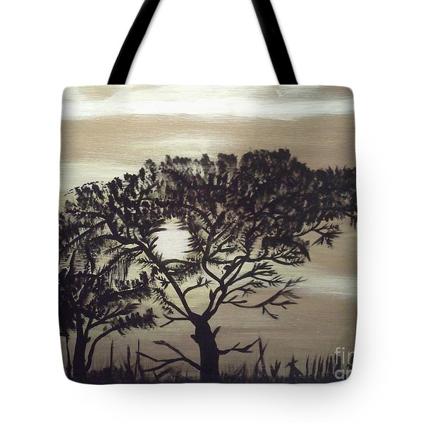Black Silhouette Tree Tote Bag