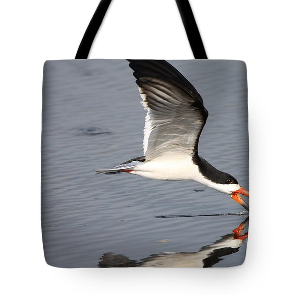 Tote Bag featuring the photograph Black Skimmer And Reflection by Kathy Gibbons