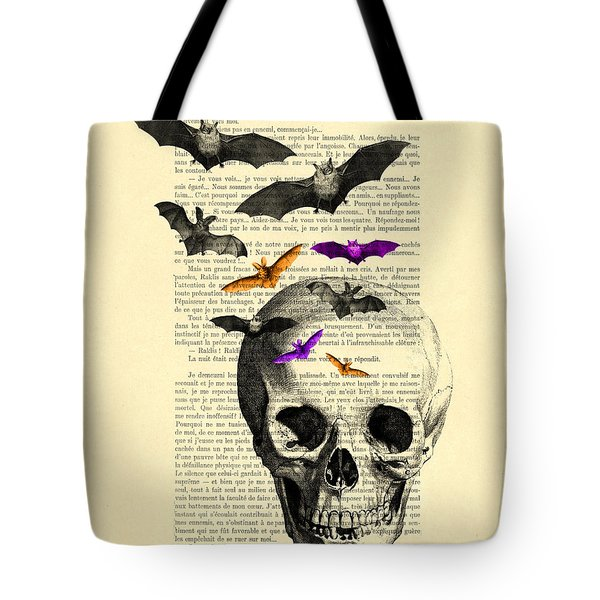 Black Skull And Bats On A Dictionary Page Tote Bag