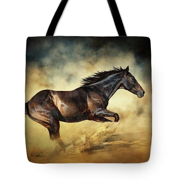 Black Stallion Horse Galloping Like A Devil Tote Bag