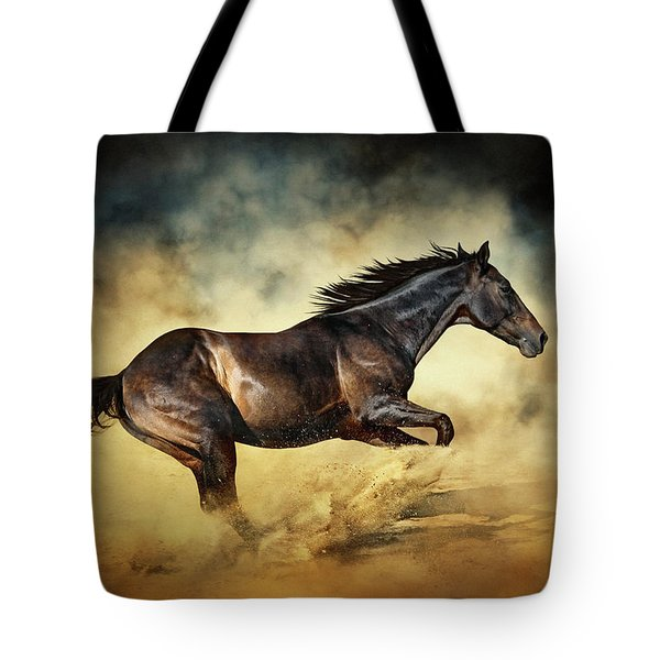Black Stallion Horse Galloping Like A Devil Tote Bag