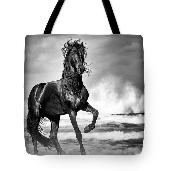 Black Stallion In Waves Tote Bag