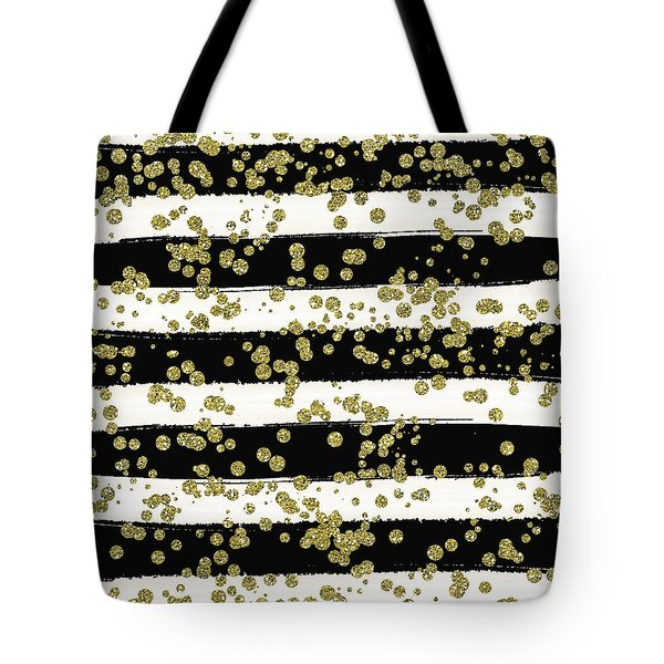 Black Stripes Gold Confetti Tote Bag