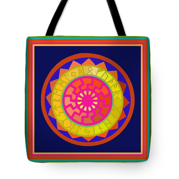 Black Sun Mandala Rune Calendar Tote Bag