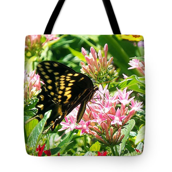 Tote Bag featuring the photograph Black Swallowtail  000  by Chris Mercer