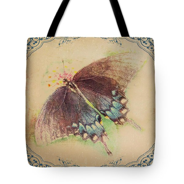 Black Swallowtail Butterfly Framed  Tote Bag