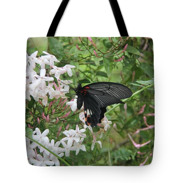 Tote Bag featuring the photograph Black Swallowtail by Yumi Johnson