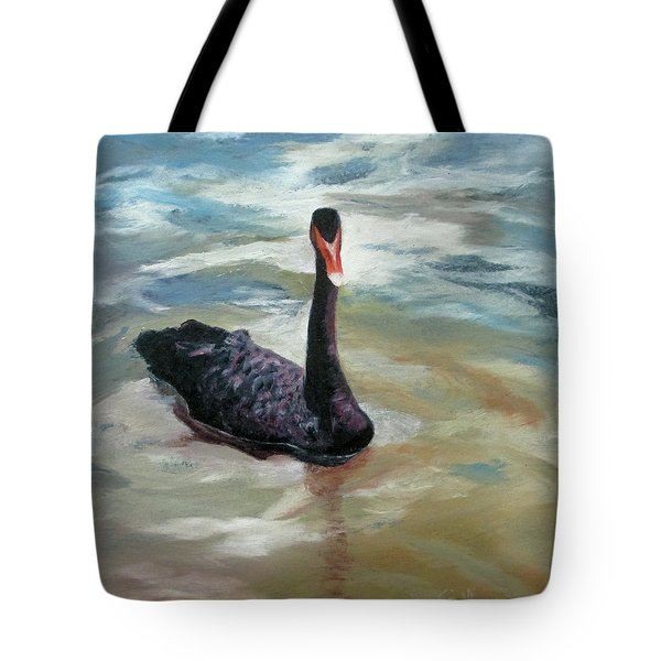 Tote Bag featuring the painting Black Swan by Roseann Gilmore