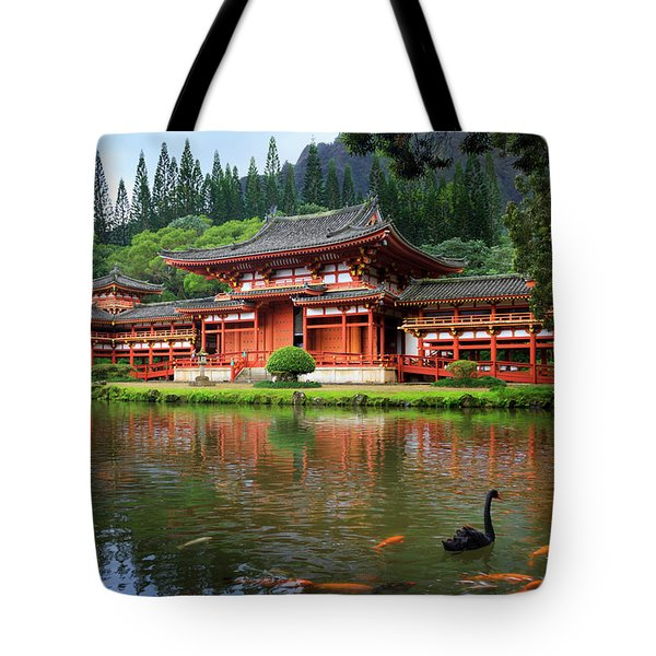 Black Swans At Byodo-in Tote Bag