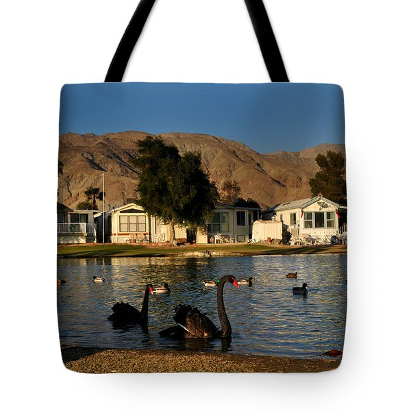 Black Swans In Sky Valley Tote Bag