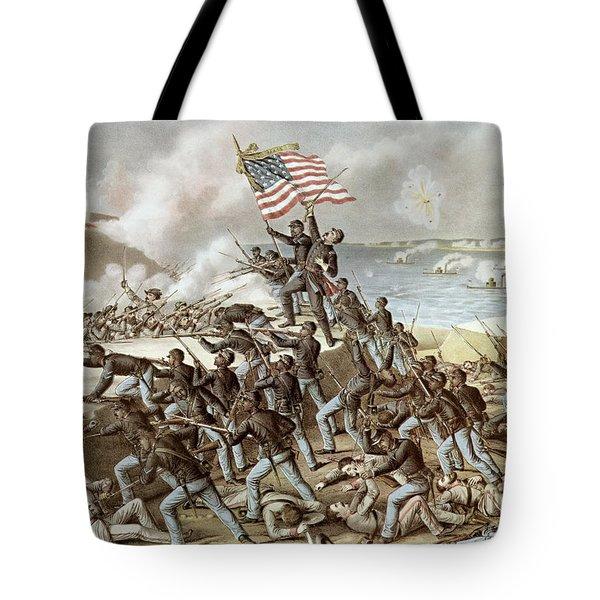 Black Troops Of The Fifty Fourth Massachusetts Regiment During The Assault Of Fort Wagner Tote Bag by American School