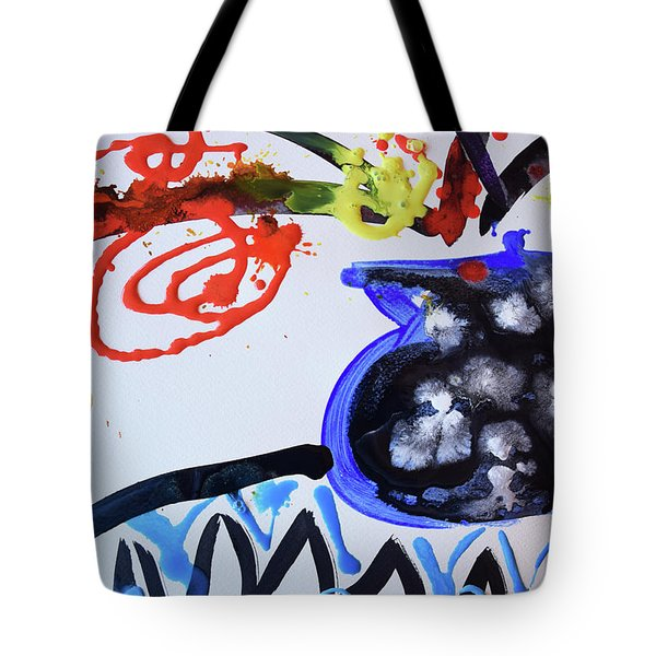 Black Vase Of Wild Flowers Tote Bag