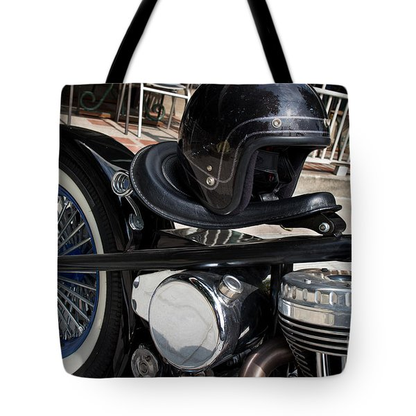 Black Vintage Style Motorcycle With Chrome And Black Helmet Tote Bag by Jason Rosette