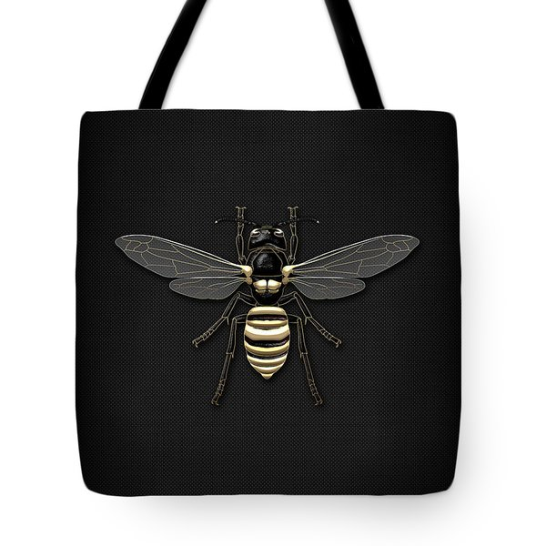 Black Wasp With Gold Accents On Black  Tote Bag