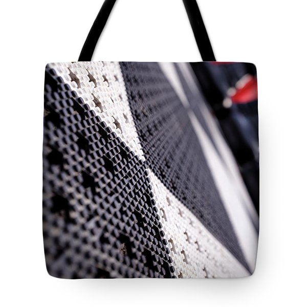 Black White And Red Chess Board Outside In Grand Rapids Michigan Tote Bag
