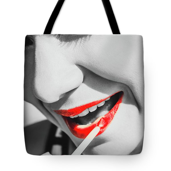 Black White And Red Lipgloss Pinup Tote Bag