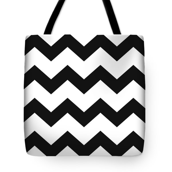 Tote Bag featuring the mixed media Black White Geometric Pattern by Christina Rollo