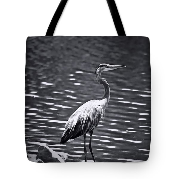 Black/white  Heron Tote Bag