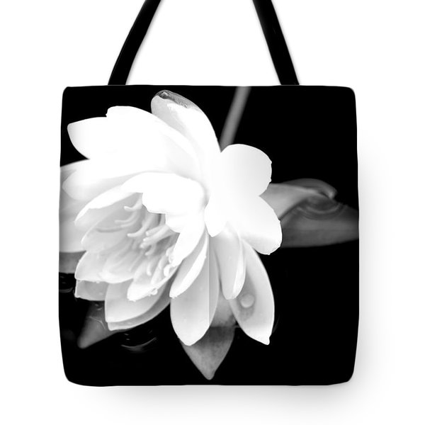 Black/white Lotus Tote Bag