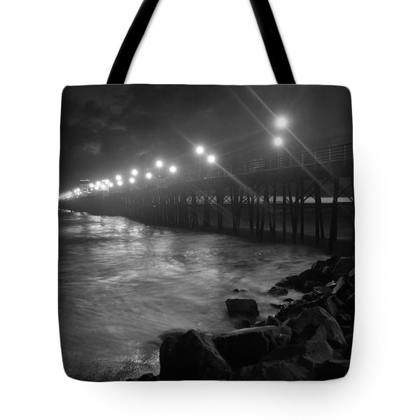 Black White Pier Tote Bag by Kelly Wade