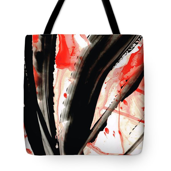 Tote Bag featuring the painting Black White Red Art - Tango 2 - Sharon Cummings by Sharon Cummings