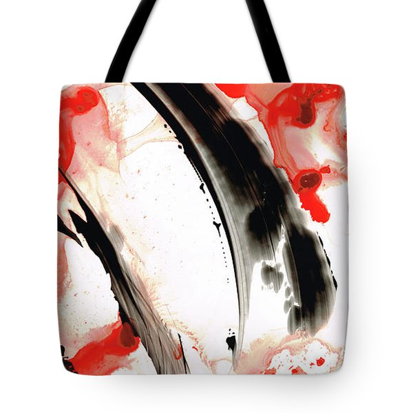 Tote Bag featuring the painting Black White Red Art - Tango 3 - Sharon Cummings by Sharon Cummings