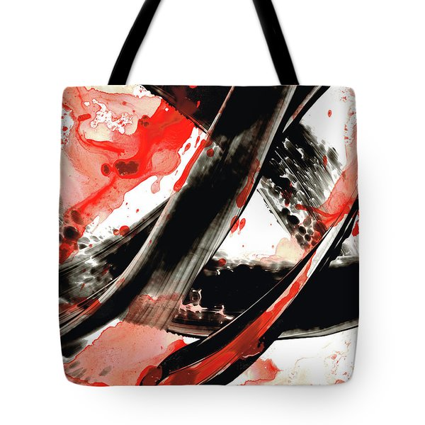 Tote Bag featuring the painting Black White Red Art - Tango - Sharon Cummings by Sharon Cummings