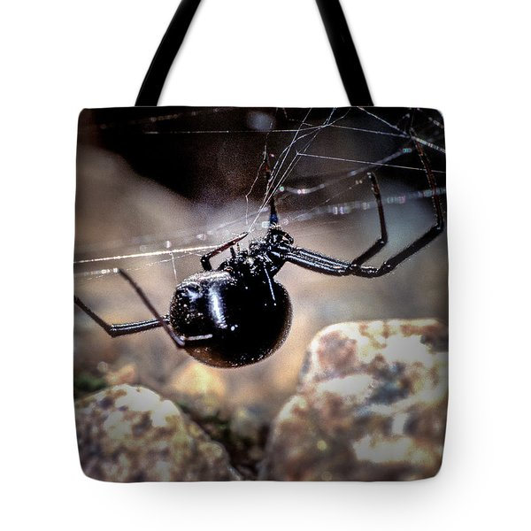 Black Widow Spider Tote Bag by John Brink