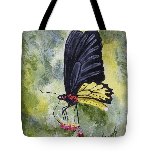 Tote Bag featuring the painting Black Winged Yellow Fellow by Sam Sidders