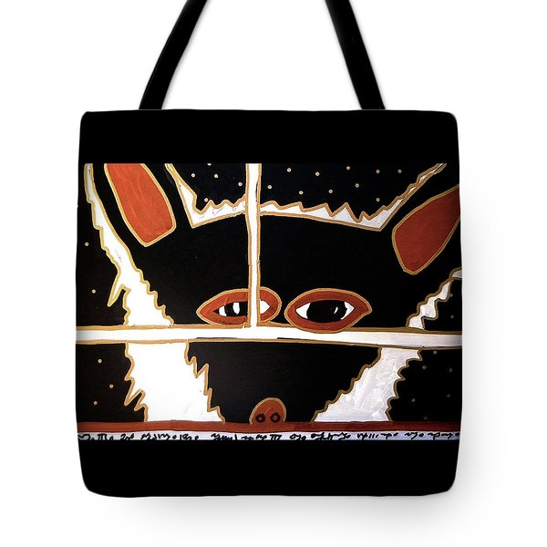 Tote Bag featuring the mixed media Black Wolf by Clarity Artists
