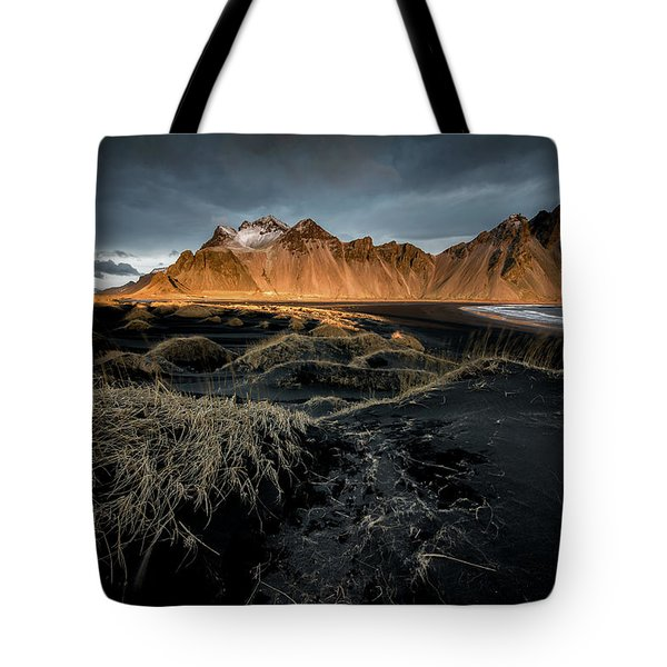 Blackbeach And Vestrahorn Tote Bag
