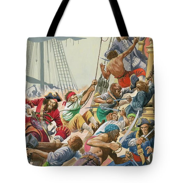 Blackbeard And His Pirates Attack Tote Bag