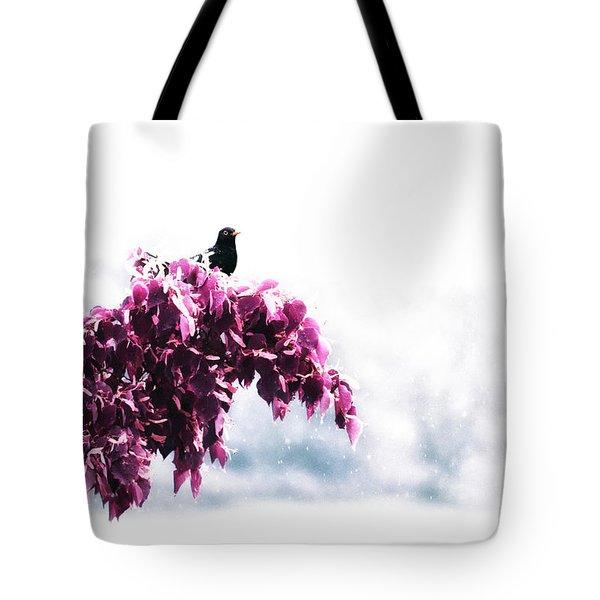 Blackbird In The Rain Tote Bag