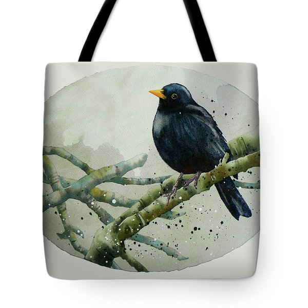 Blackbird Painting Tote Bag by Alison Fennell