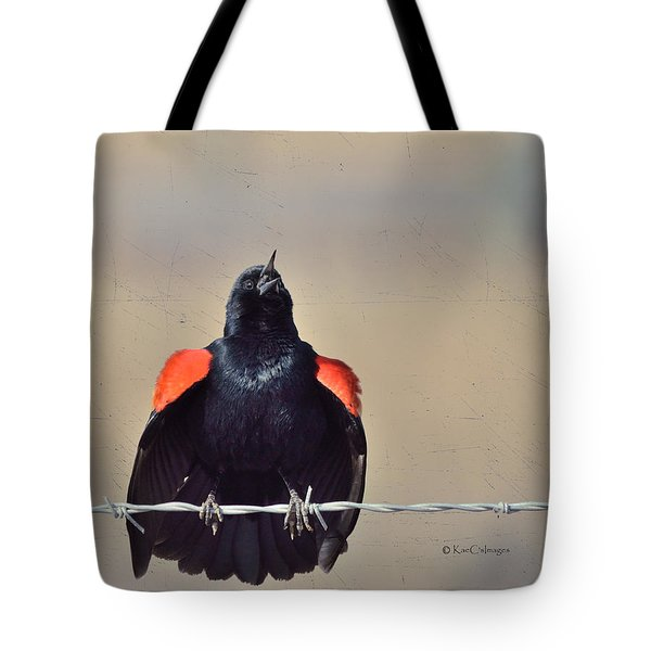 Tote Bag featuring the photograph Blackbird Singing by Kae Cheatham