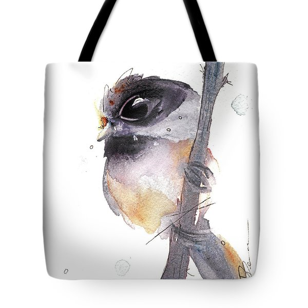 Tote Bag featuring the painting Blackcapped Chickadee by Dawn Derman