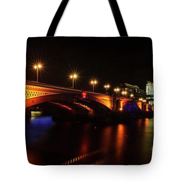 Blackfriars Bridge Illuminated In Orange Tote Bag