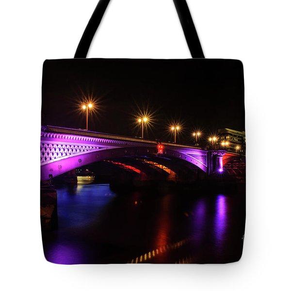 Blackfriars Bridge Illuminated In Purple Tote Bag