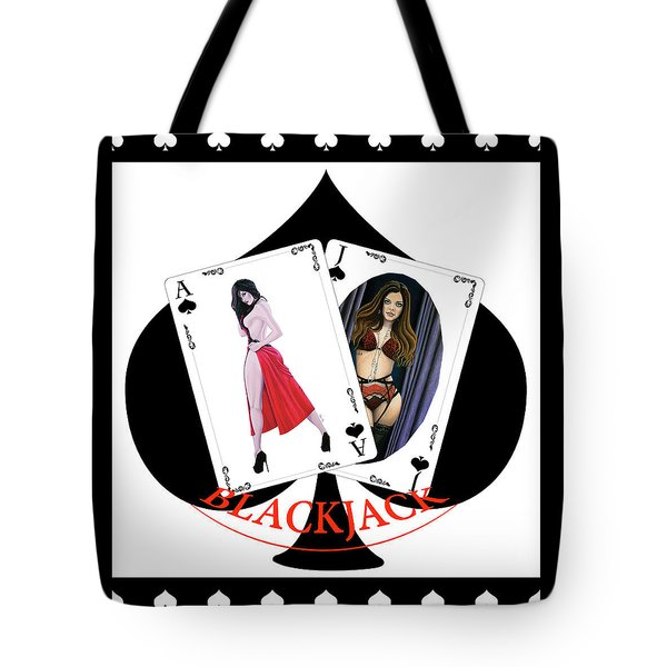 Tote Bag featuring the digital art Black Jack Spades by Joseph Ogle