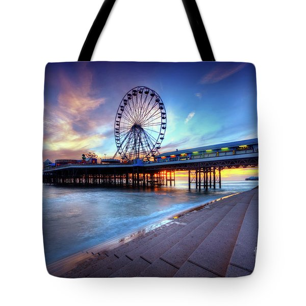 Tote Bag featuring the photograph Blackpool Pier Sunset by Yhun Suarez