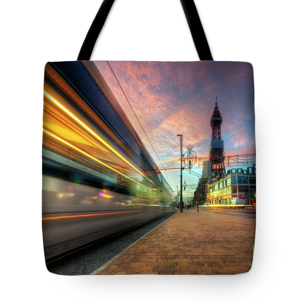Tote Bag featuring the photograph Blackpool Tram Light Trail by Yhun Suarez