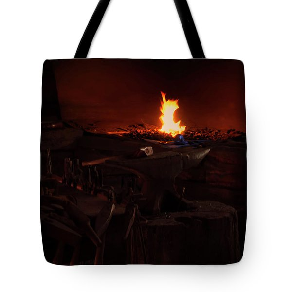 Tote Bag featuring the digital art Blacksmith Shop by Chris Flees