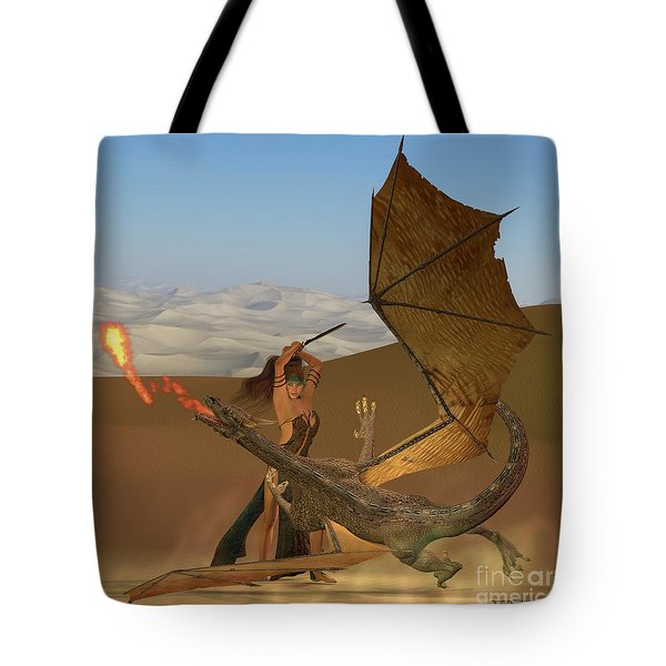 Blackthorn Warrior Kills Dragon Tote Bag