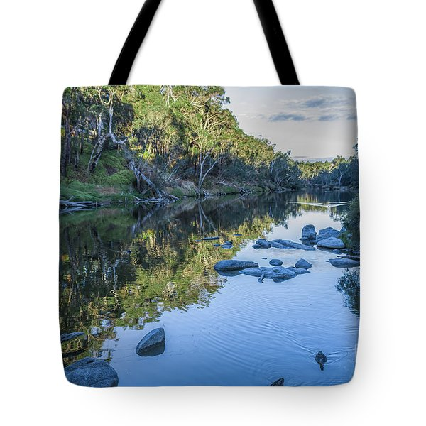 Tote Bag featuring the photograph Blackwood River Rocks, Bridgetown, Western Australia by Elaine Teague