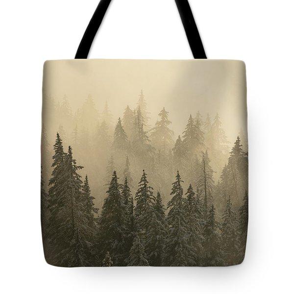 Blanket Of Back-lit Fog Tote Bag by Dustin LeFevre