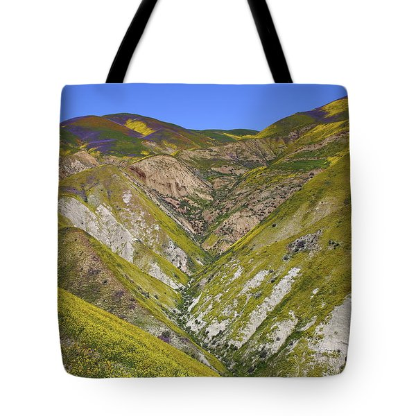 Blanket Of Wildflowers Cover The Temblor Range At Carrizo Plain National Monument Tote Bag by Jetson Nguyen